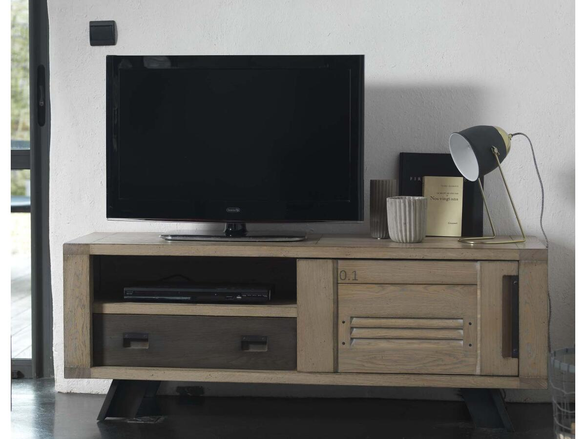 meuble tv 1 porte 1 tiroir 1 niche nozay. Black Bedroom Furniture Sets. Home Design Ideas
